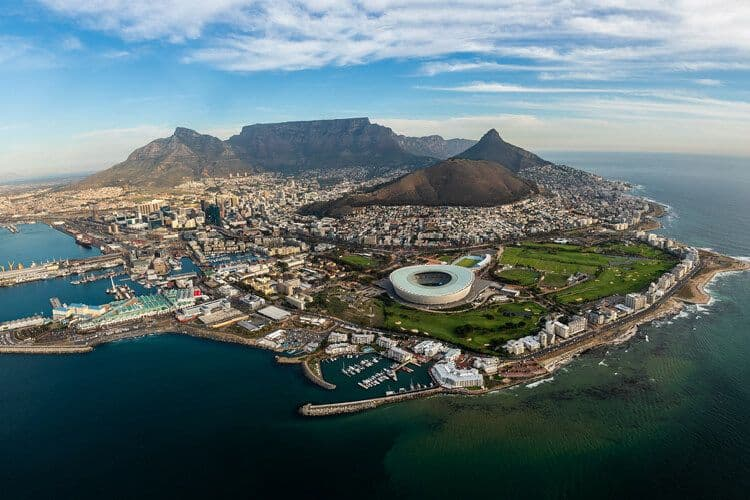 Birdseye view of Capetown, South Africa.