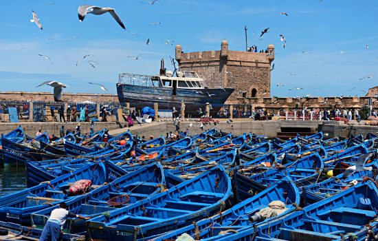 Blue boats in M'Diq, Morocco
