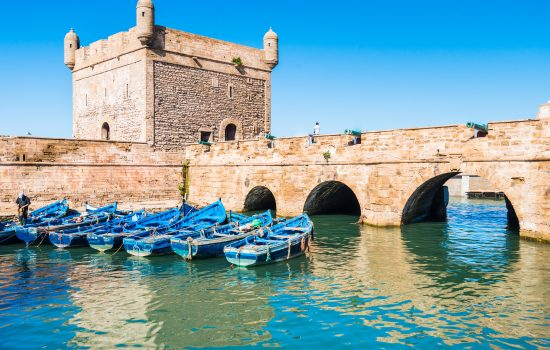 Blue boats in the port of Essaouira in Morocco