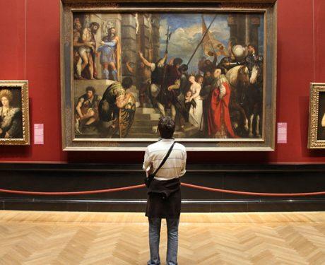 Man looking at curated artwork
