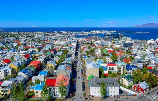 Birdseye view of Reykjavik, Iceland