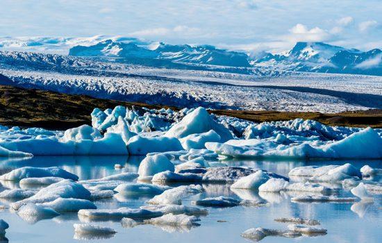 Vatnajokull Glacier viewed from Fjallsarlon glacier lake in Southern Iceland
