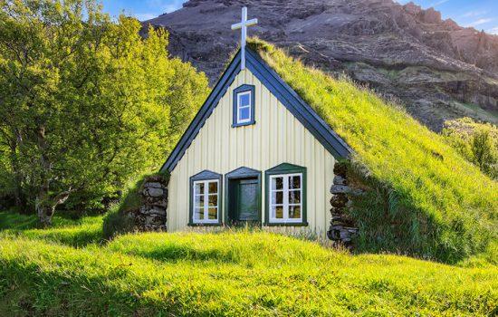 Turf-top church Hofskirkja, Iceland