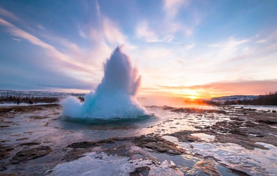 Geyser exploding at the Golden Circle in Iceland