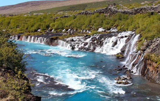 Barnafoss and Hraunfossars waterfalls in Iceland