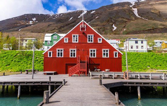 Reg house and green grass in Siglufjörður, Iceland