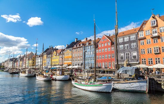Colourful houses in Nyhavn distric, Copenhagen, Denmark