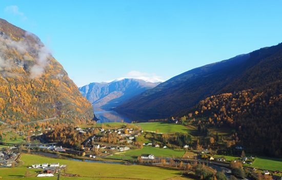 The mountains and grasslands with a house, in Flam, Norway
