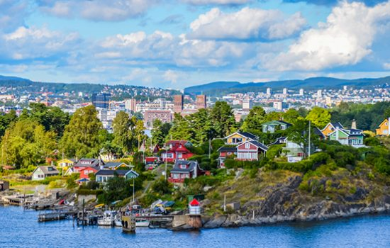 Pretty painted houses on the coast of Oslo, Norway