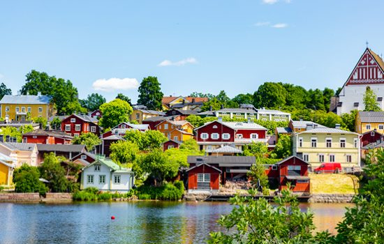 Pretty painted houses on the water in Porvoo, Finland