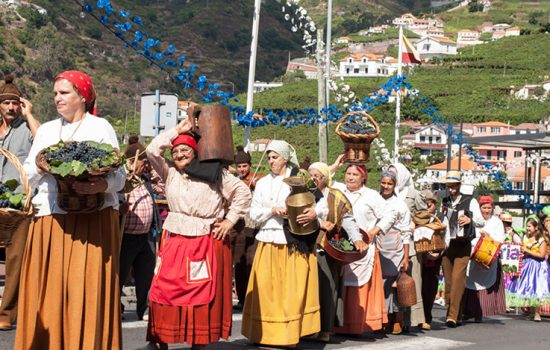 People participating in the wine festival in Madiera in the fall