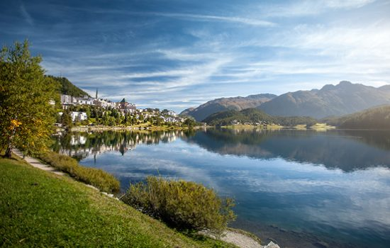 View lakeside in St. Moritz, Switzerland