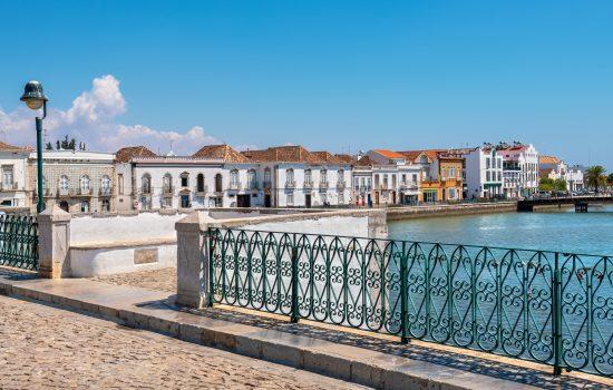 Tavira from Roman bridge over River Gilao. Algarve, Portugal
