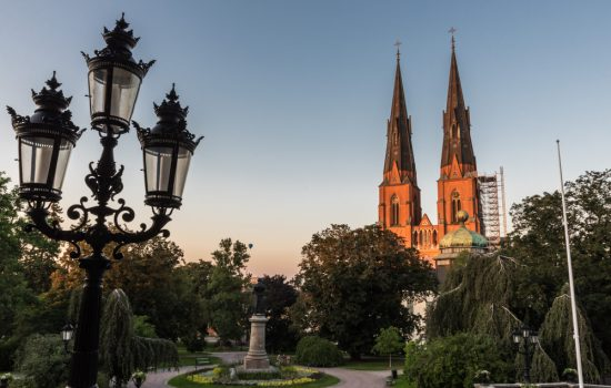 Uppsala Cathedral at sunset in sweden