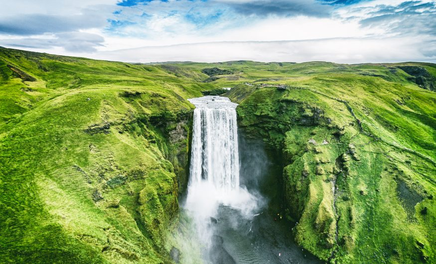 Birdseye view of Skogafoss Waterfall, Iceland