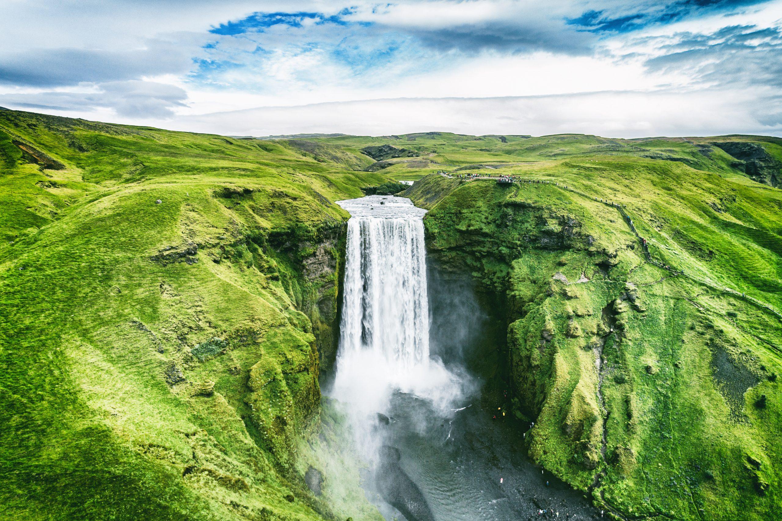 Birdseye view of Skogafoss Waterfall, Iceland