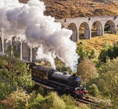 Jackobite Train travelling in Europe in Scotland